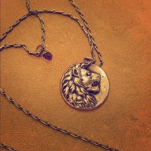 Vintage gold Lion Necklace with Ruby (costume)